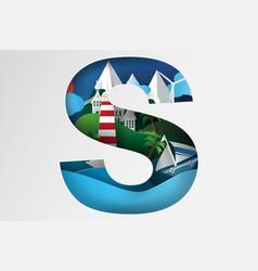 paper art of island sea vector image