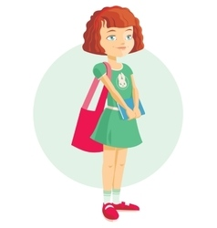 pupil girl with school backpack vector image