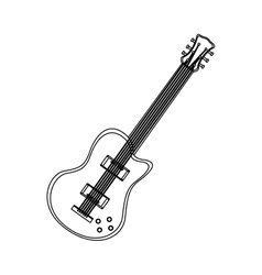 silhouette electric guitar musical flat icon vector image
