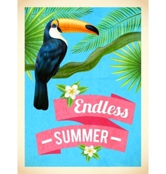 Toucan Bird Summer Vacation Flat Poster vector image