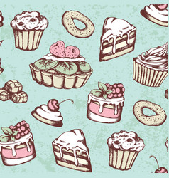 vintage seamless pattern with sweets vector image vector image