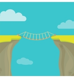 Abyss gap or cliff concept with bridge sky vector