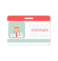 Andrologist medical specialist badge template vector