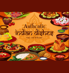Authentic indian dishes traditional food meals vector
