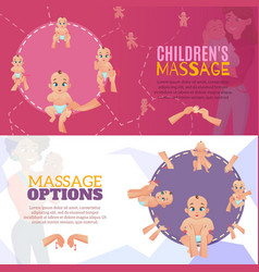 Baby massage banners set vector