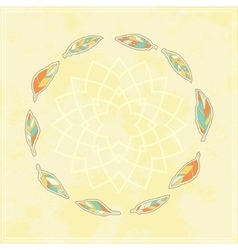 Background with tribal feather circle vector
