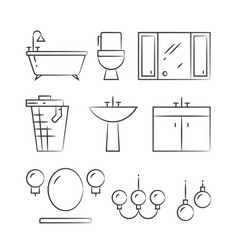 bathroom furniture and lighting hand drawn line vector image
