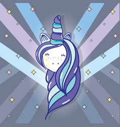 beautiful head unicorn with long mane vector image