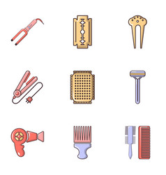 Beauty salon stuff icons set flat style vector