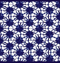 Blue and white shibori hexagon honeycomb vector