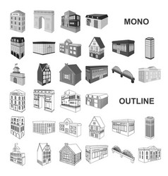 Building and architecture monochrom icons in set vector