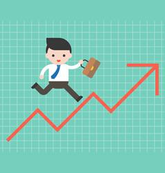 Business man run on arrow graph up business vector