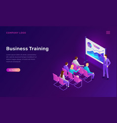 business training isometric concept seminar vector image