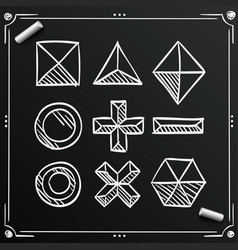 Chalkboard polygonal sketch shapes figures ico vector