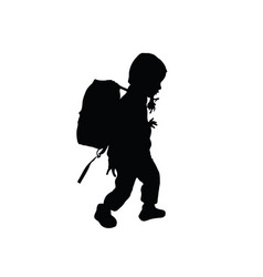 child silhouette walking with bag vector image