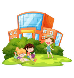 Children playing outside school vector