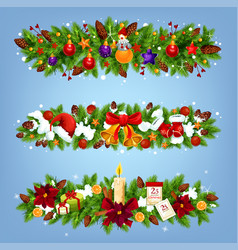 christmas festive garland with xmas gift and decor vector image
