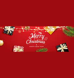 Christmas greeting card with gift boxes on red vector