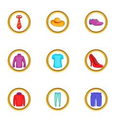 clothes icon set cartoon style vector image