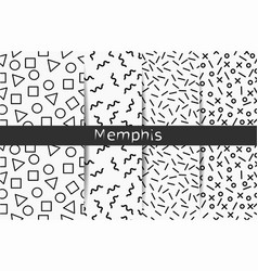 collection of four black and white memphis vector image