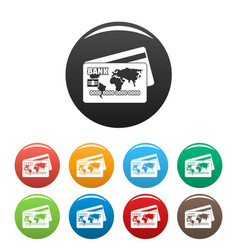 credit card icons set color vector image