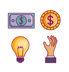 crowdfunding icons set with idea donations vector image