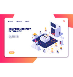 Cryptocurrency exchange isometric concept vector