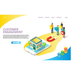 Customer engagement landing page website vector