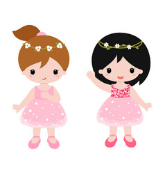 Cute baby ballerinas in pink dress clipart vector