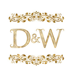 D and w vintage initials logo symbol the letters vector
