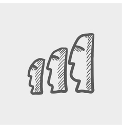 Easter isalnd statues sketch icon vector