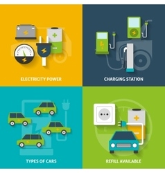 Electric Car Decorative Icon Set vector
