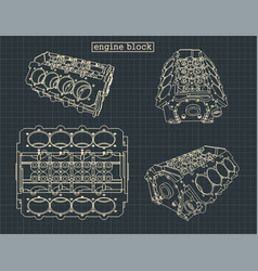 Engine block drawings vector