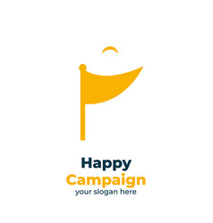 Flag happy campaign logo icon with half smiling vector