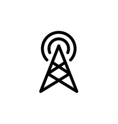 flat line single radio antenna icon symbol sign vector image