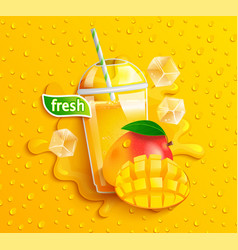 fresh mango juice with ice and fruits vector image