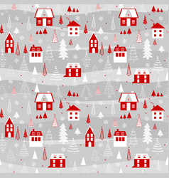 funny seamless pattern with houses snowflakes and vector image