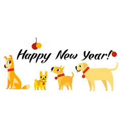 Funny yellow dogs symbol of year 2018 flat style vector