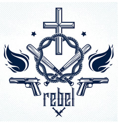 Gangster thug emblem or logo with christian cross vector