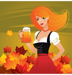 German girl serving beer on oktoberfest vector