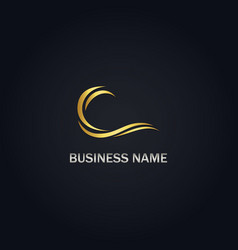 Gold wave abstract business logo vector