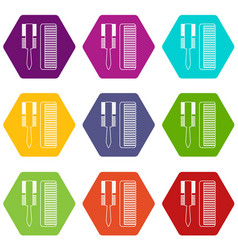 hair comb icons set 9 vector image