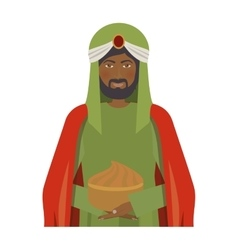 half body brunnette wise man with offering vector image