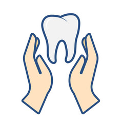 hands hold tooth dental care concept vector image