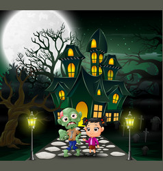 Happy halloween zombie cartoon in front of the hau vector