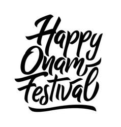 happy onam festival black handwriting lettering vector image