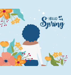 hello spring woman curly hair with flowers nature vector image