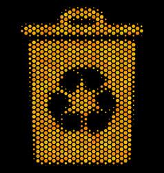 hexagon halftone recycle bin icon vector image