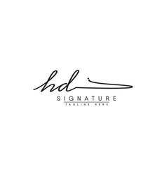 Initial letter hd logo - handwritten signature vector