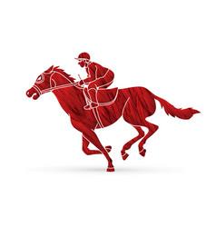 Jockey on horse horse racing cartoon graphic vector